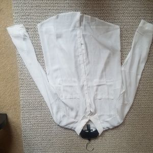 Partially sheer white button down